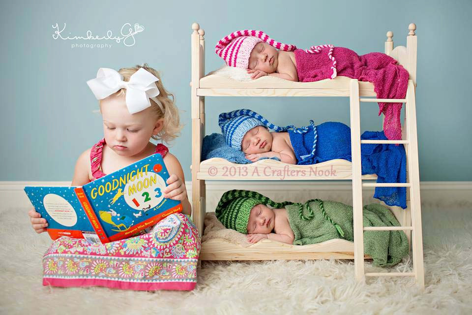 Triple doll bed bunk bed mattresses and ladder newborn photography prop triplets boy prop