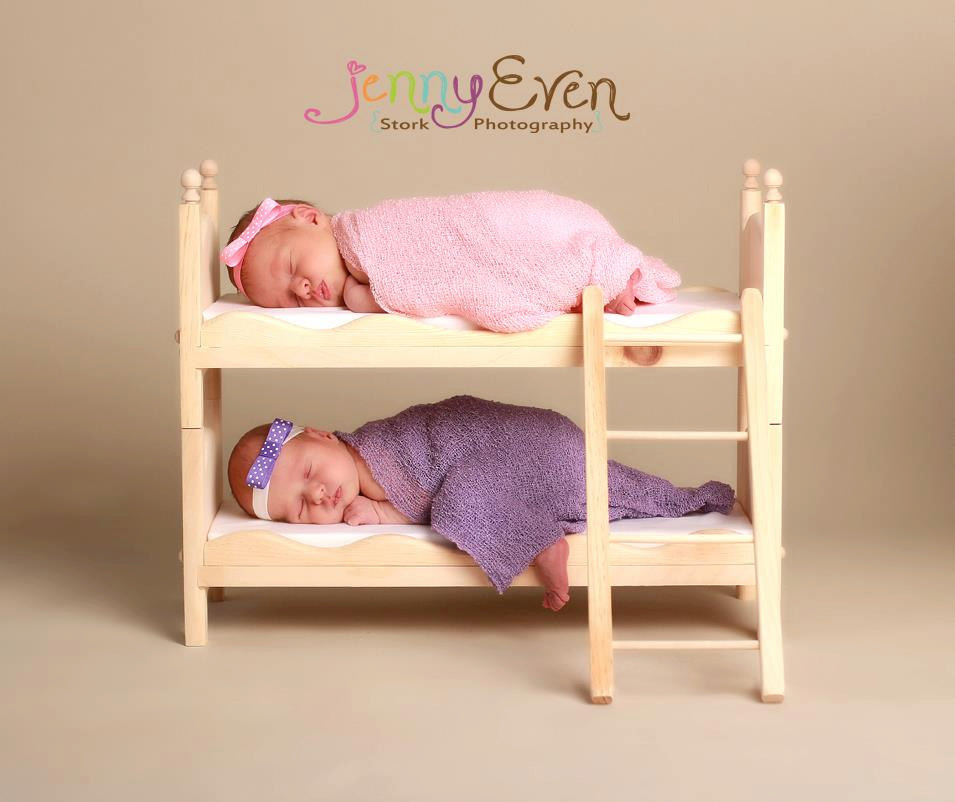 Newborn twins small whimsical boy or girl photography prop posing bunk bed mattresses american girl doll